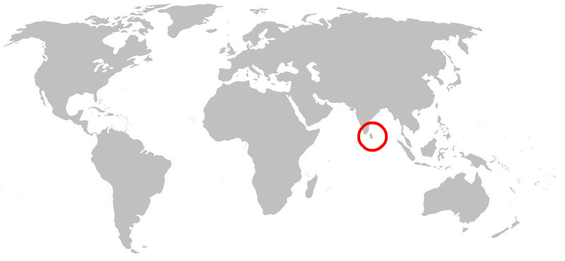 Location and size of Sri Lanka