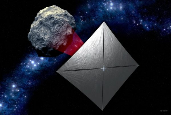 NEA Scout concept: a controllable CubeSat solar sail spacecraft.