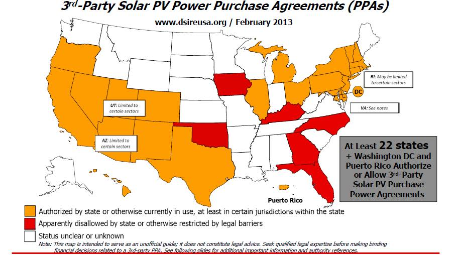 States that allow third party solar in 2013